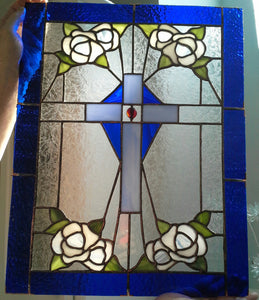 Cross & Flowers - Stained Glass