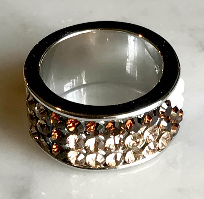Swarovski Crystal Ring - 3 Rows