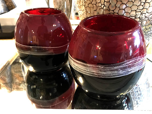 Dale Tiffany Red & Black Glass Candle Holder Set