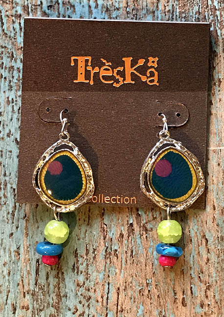 Yellow/Blue Drop Earrings - Tahiti Series by Treska
