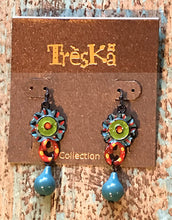 Blue Teardrop with Flower Earrings - Tahiti Series by Treska