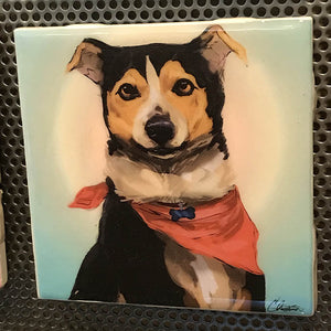 """Astreaux the Dog"" Tile Coaster/Magnet by Chigri"