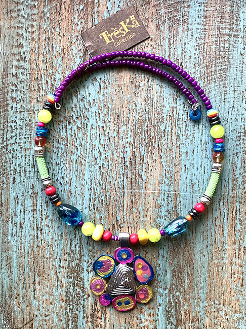 Rainbow Beaded Coil Pendant Necklace - Tahiti Series by Treska