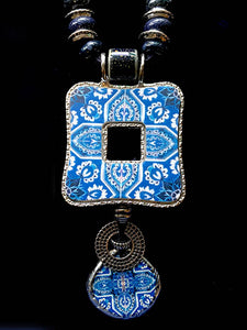 Dual Pendant SquareTile Fragment Necklace - Andalucia Series by Treska