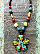 Green & Yellow Flower Necklace - Tahiti Series by Treska