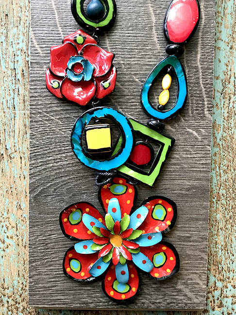 Red, Green & Blue Flower Necklace - Tahiti Series by Treska