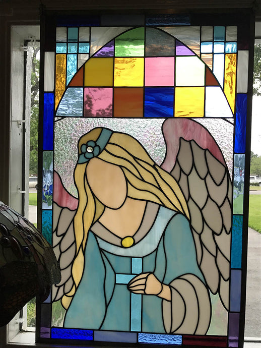 Angel & Cross - Stained Glass