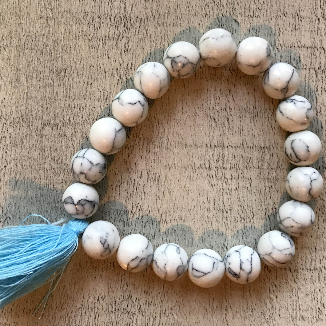 Bella Bracelet - Beads with Blue Sash- by Heart on Your Sleeve