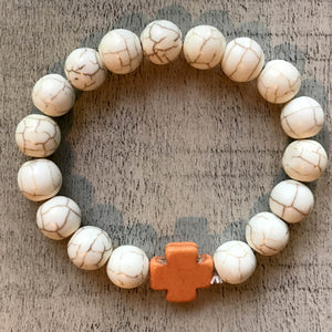 Bella Bracelet - Beads with Orange Charm- by Heart on Your Sleeve