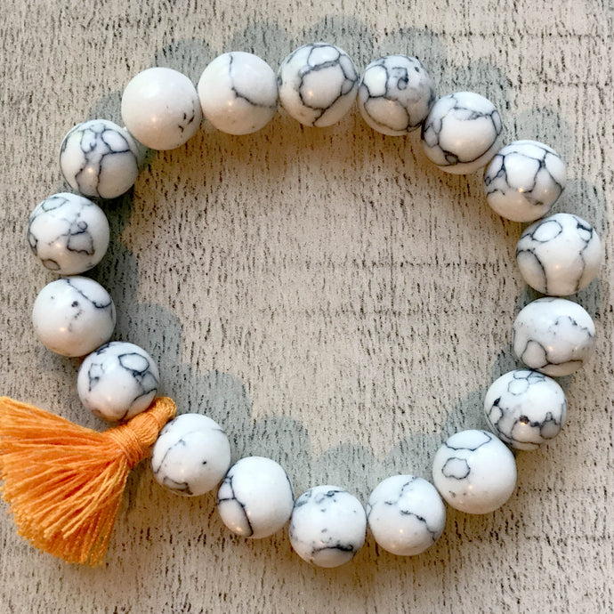 Bella Bracelet - Beads with Orange Sash- by Heart on Your Sleeve