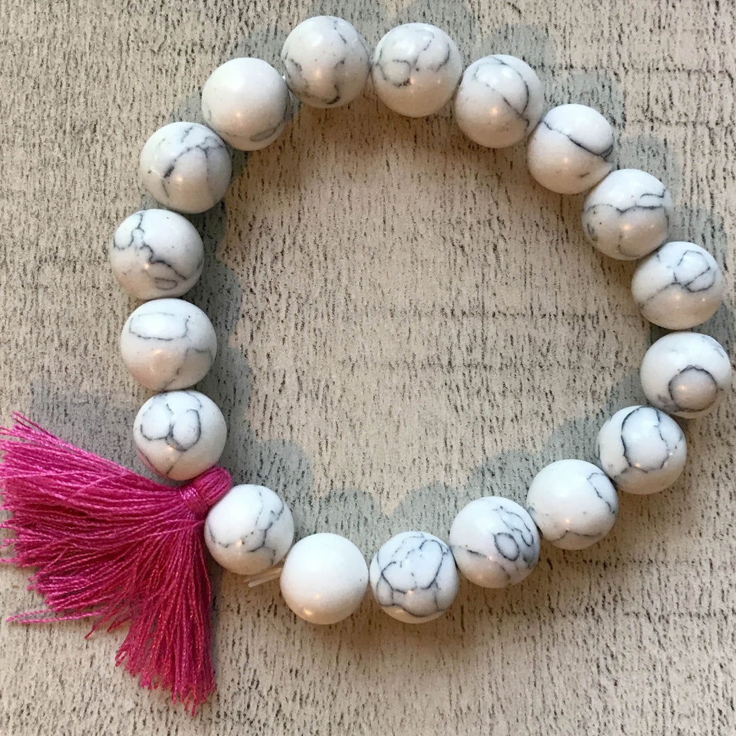 Bella Bracelet - Beads with Pink Sash- by Heart on Your Sleeve