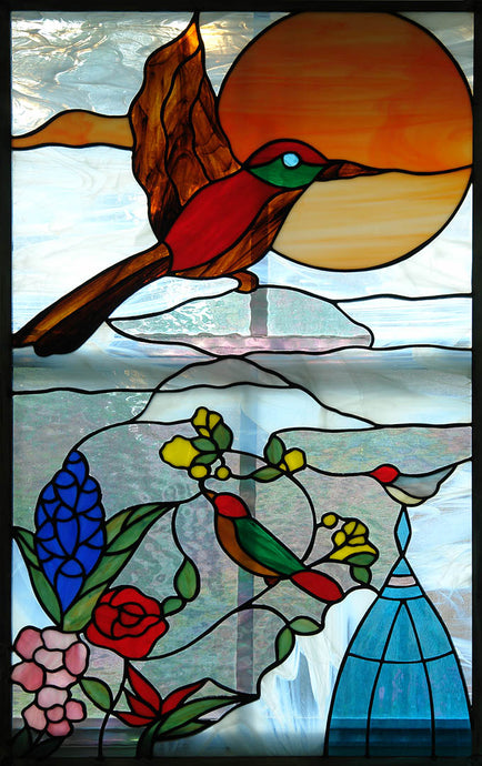 Spring Birds at Sunset - Stained Glass Window