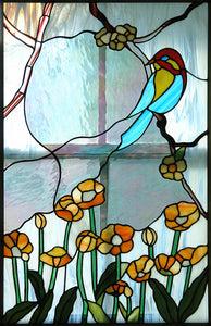 Bird in Garden - Stained Glass Window