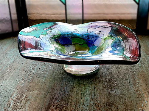 Red & Blue Blown Glass Bowl by Dale Tiffany - 9