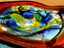 Red & Blue Blown Glass Bowl by Dale Tiffany - 9""