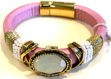 BOHO Magnetic Focal Bracelet - White Stone with Pink Band