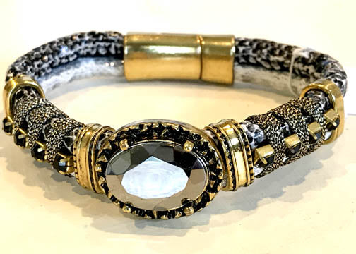 BOHO Magnetic Focal Bracelet - Black Reflective Stone with Gold & Black Band