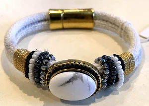 BOHO Magnetic Focal Bracelet - White Stone with White Band