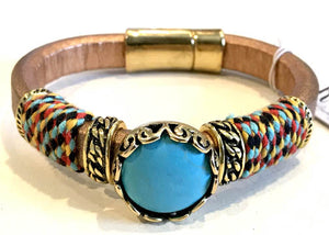 BOHO Magnetic Focal Bracelet - Turquoise Stone with Brown Band