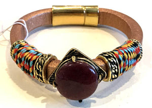 BOHO Magnetic Focal Bracelet -Brown Stone with Brown Band