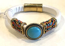 BOHO Magnetic Focal Bracelet -Turquoise Stone with White Band