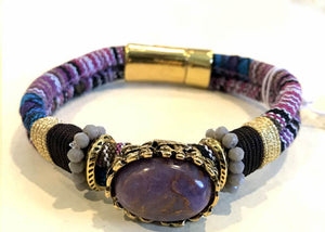 BOHO Magnetic Focal Bracelet -Lavender Stone with Matching Band