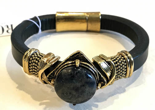 BOHO Magnetic Focal Bracelet -Black Round Stone with Matching Band