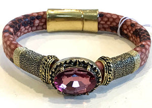 BOHO Magnetic Focal Bracelet -Sparkling Pink Stone with Matching Band