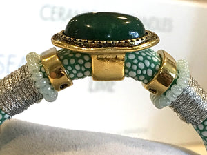 BOHO Magnetic Focal Bracelet -Green Stone with Matching Band