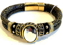BOHO Magnetic Focal Bracelet -Dark Reflective Oval Stone with Gold & Black Band