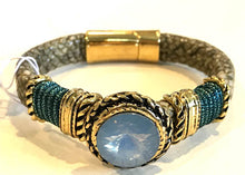 BOHO Magnetic Focal Bracelet - White Smokey Clear Stone with Leather & Beaded Band