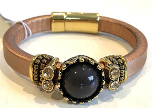 BOHO Magnetic Focal Bracelet - Charcoal Black Stone with Rose Gold Tone Leather Band