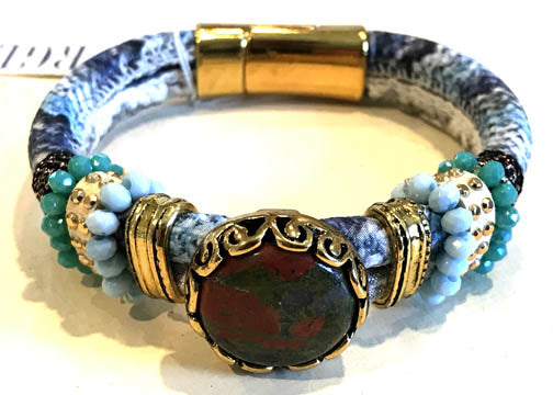 BOHO Magnetic Focal Bracelet - Anyolite Stone with Blue Band