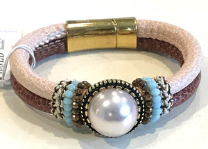 BOHO Magnetic Focal Bracelet - White Pearl with Dual Band