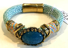 BOHO Magnetic Focal Bracelet - Deep Blue Oval Stone with Spotted Band