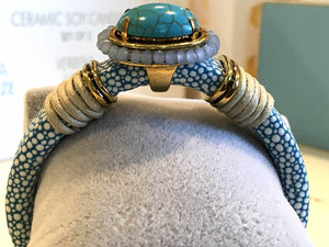 BOHO Magnetic Focal Bracelet - Turquoise Stone with Spotted Band