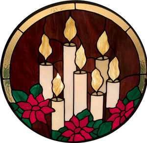 Christmas Candles with Poinsettia Flowers - Stained Glass