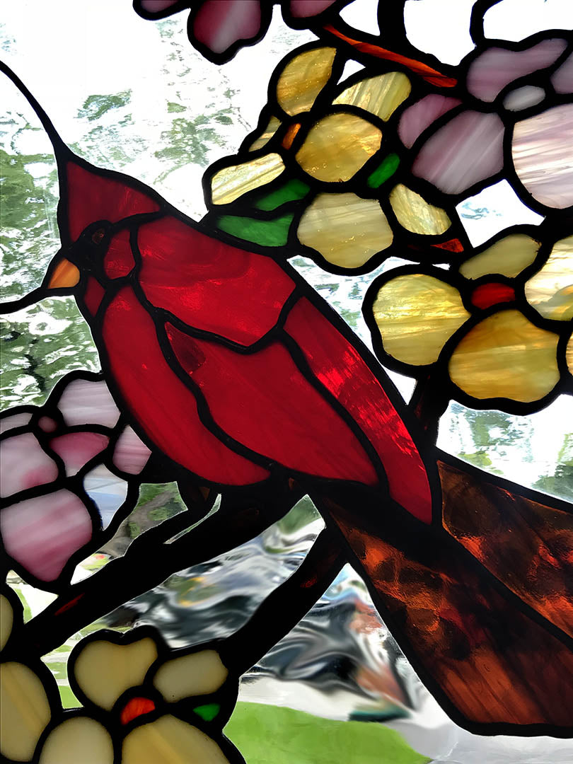 Cardinal Birds In Dogwood Tree Stained Glass Seasons
