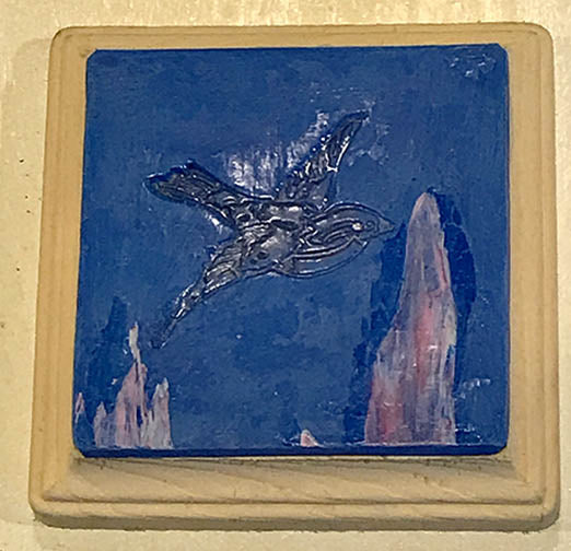 Blue Clay Coaster Depeicting a Flying Bird by Seasons