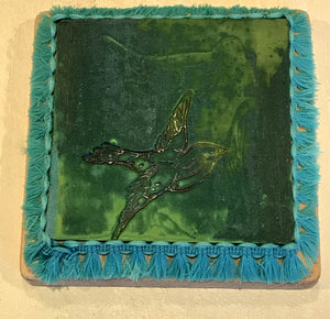 Green Clay Coaster Depeicting a Flying Bird by Seasons