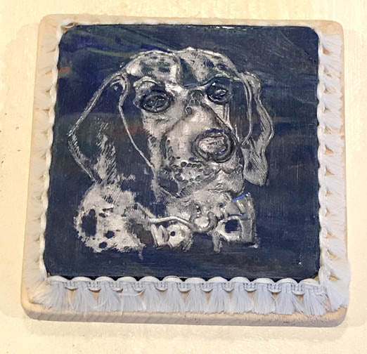 Blue & Silver Clay Coaster Depeicting a Dog by Seasons