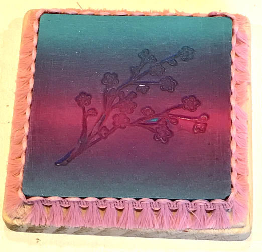 Pink & Blue Clay Coaster Depeicting Flowers by Seasons