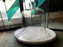 Glass Cloche on White Marble Base - 7.5""