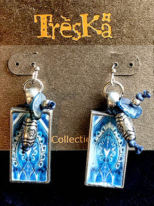 Rectangle Tile Drop Earrings - Andalucia Series by Treska