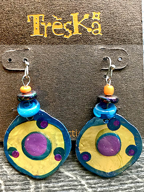 Yellow & Blue Rainbow Drop Earrings - Rainbow Series by Treska