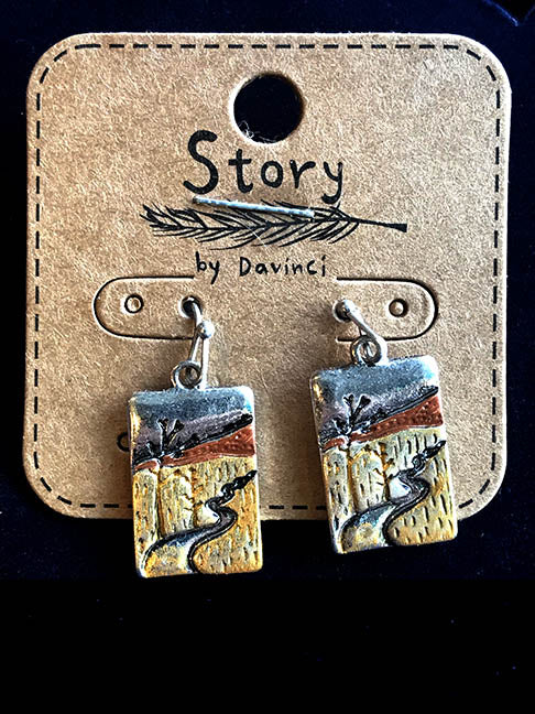 Copper & Silver Colored Story Earrings by Davinci