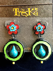 Flower Drop Earrings - Rainbow Series by Treska