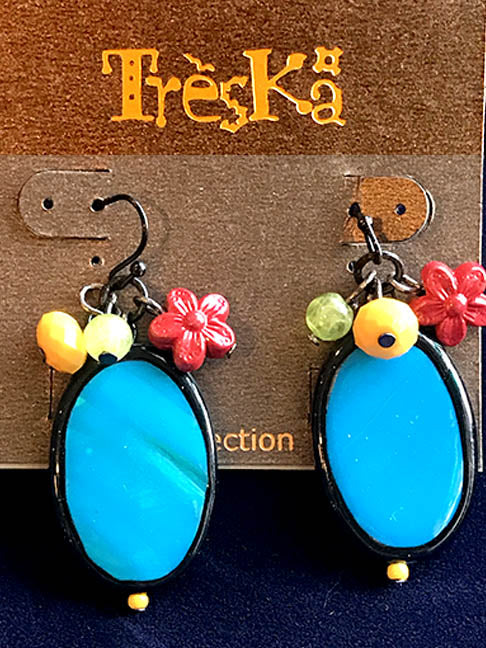 Blue Oval Drop Earrings - Rainbow Series by Treska