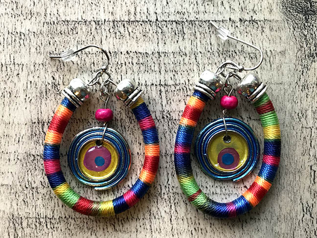 Rainbow Hoop & Drop Earrings - Rainbow Series by Treska