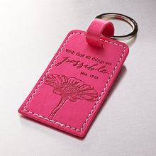 Pink Bible Verse Leather Key Ring -Matthew 19:26